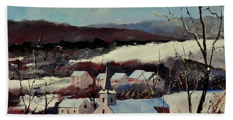 Snow Beach Towel featuring the painting Snow In Vittrival by Pol Ledent