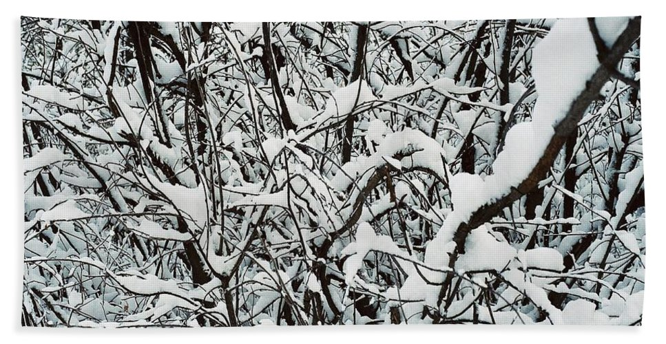 Abstract Beach Towel featuring the photograph Snow On Branches by Ric Bascobert