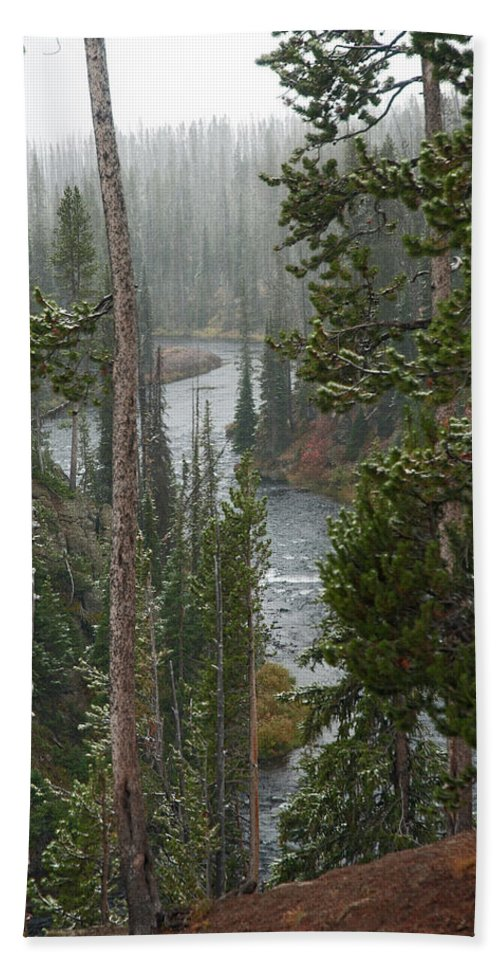 Snow Beach Towel featuring the photograph Snow On The Yellowstone River by Gary Langley