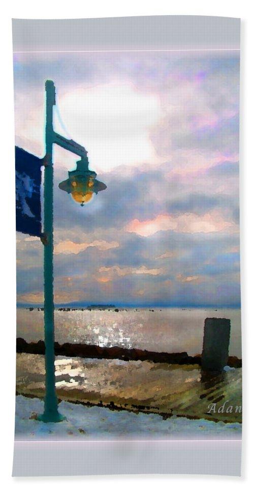 Winter Coastline Beach Towel featuring the photograph Snow Waterfront Park Walk by Felipe Adan Lerma
