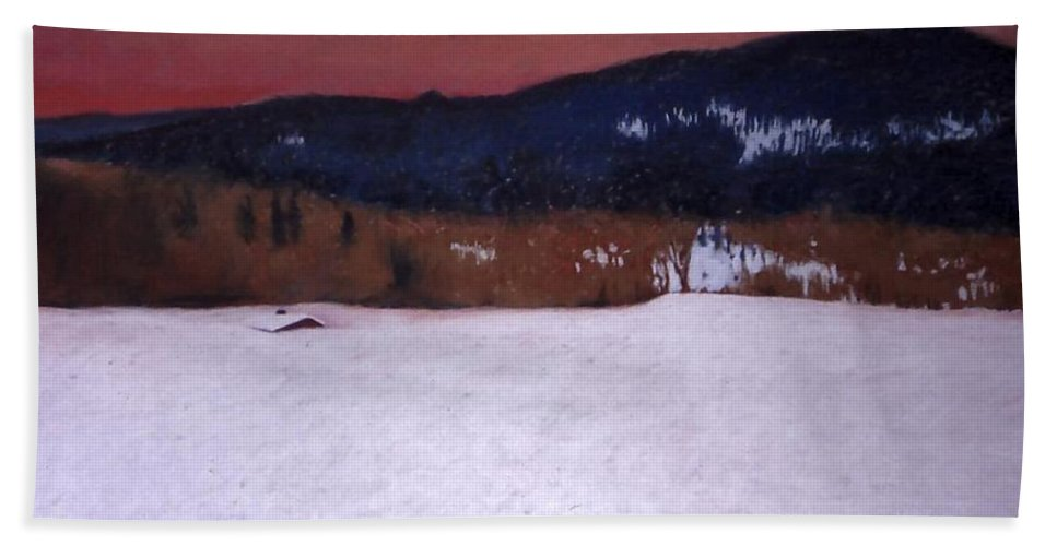 Pastel Beach Towel featuring the painting Snowbound by Mary McInnis