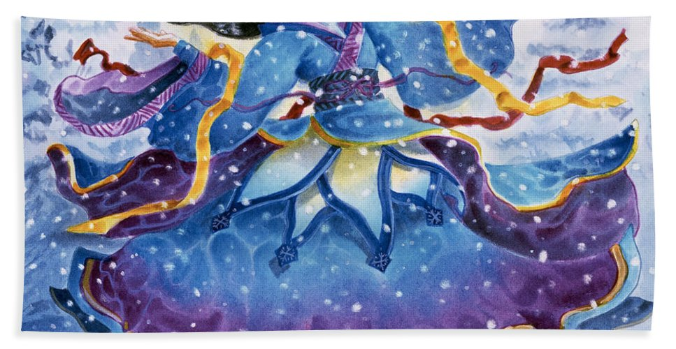 Snow Beach Sheet featuring the painting Snowfall by Melissa A Benson