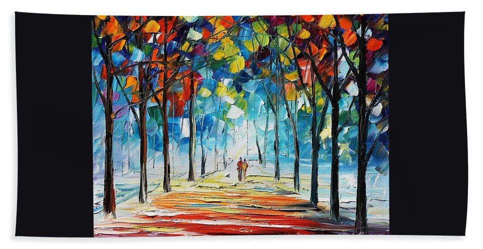 Afremov Beach Towel featuring the painting Snowing Alley by Leonid Afremov