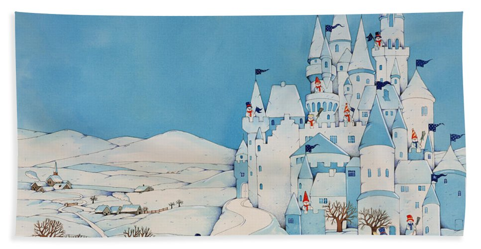 Snowman Castle Beach Towel featuring the painting Snowman Castle by Christian Kaempf