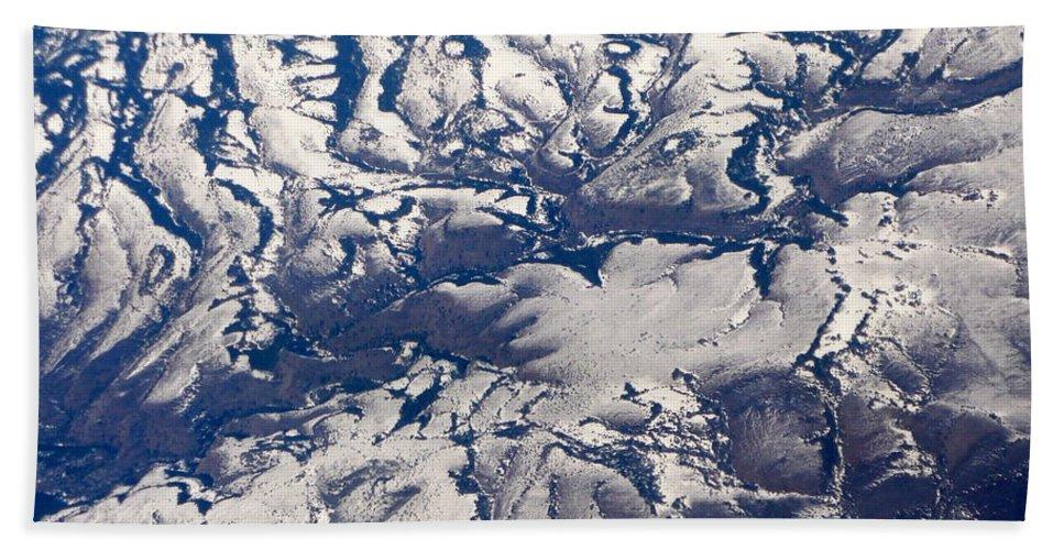 Aerial Beach Sheet featuring the photograph Snowy Landscape Aerial by Carol Groenen
