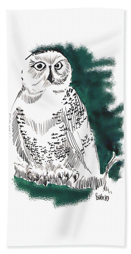 Snowy Owl Ii Beach Towel featuring the drawing Snowy Owl II by Seth Weaver