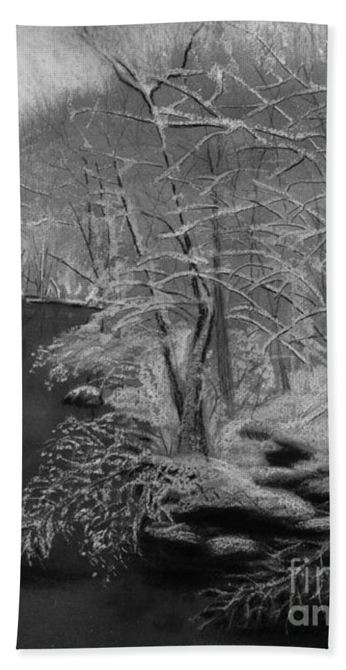 Black And White Beach Towel featuring the painting Snowy River by Lynn Quinn