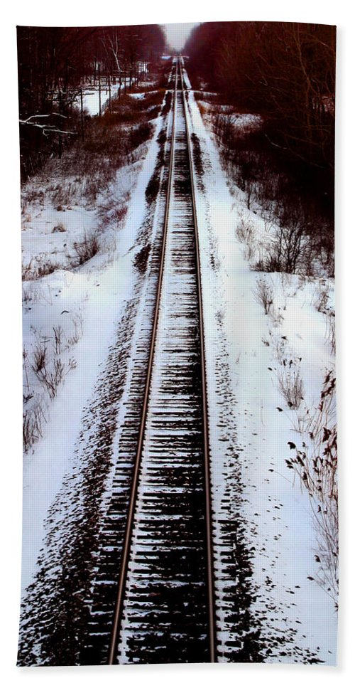 Train Tracks Beach Towel featuring the photograph Snowy Train Tracks by Anthony Jones