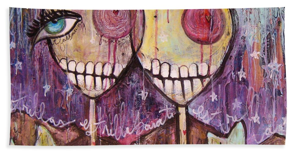 Skulls Beach Towel featuring the painting So This Is The New Year Estrellas And All by Laurie Maves ART