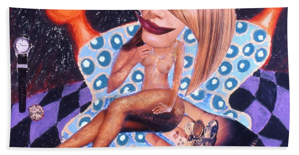 Nude Female Beach Towel featuring the drawing Soap Scene # 3 Missing More Than Her Shoe by Minaz Jantz