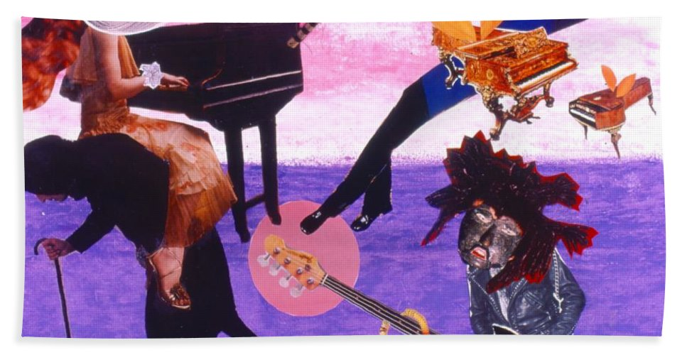 Grand Piano Beach Towel featuring the drawing Soap Scene #21 Beggar Belief by Minaz Jantz