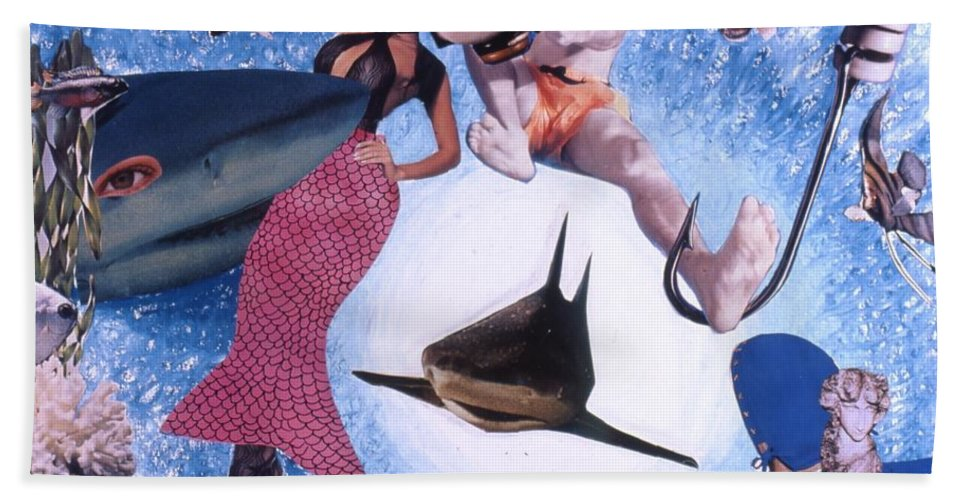 Shark Beach Towel featuring the drawing Soap Scene #26 Operation Rescue by Minaz Jantz
