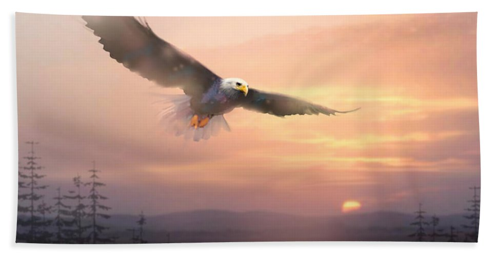 Eagle Beach Towel featuring the painting Soaring Free by Paul Sachtleben