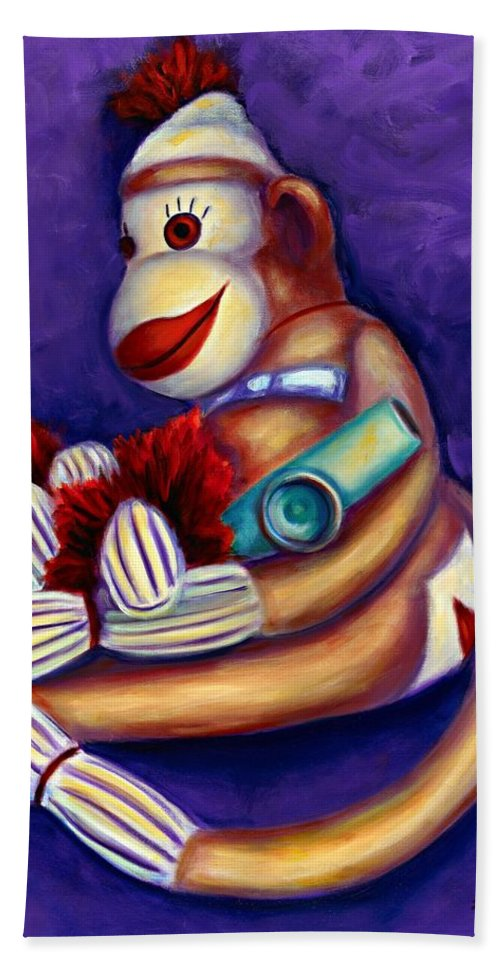 Children Beach Towel featuring the painting Sock Monkey With Kazoo by Shannon Grissom