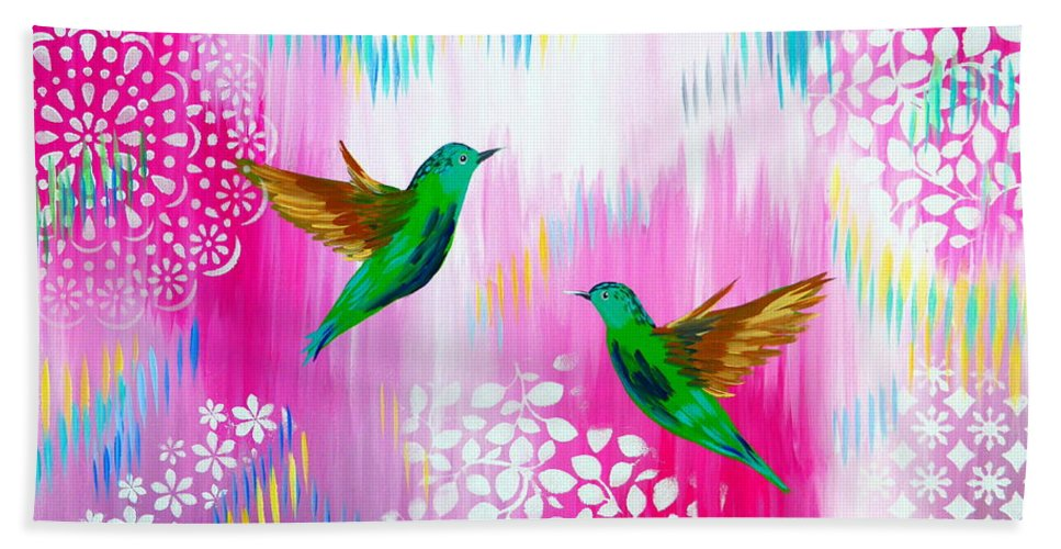 Hummingbirds Beach Towel featuring the painting Soft Yet Modern by Cathy Jacobs