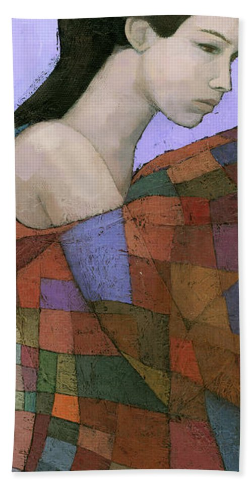 Figurative Beach Towel featuring the painting Solace Detail by Steve Mitchell