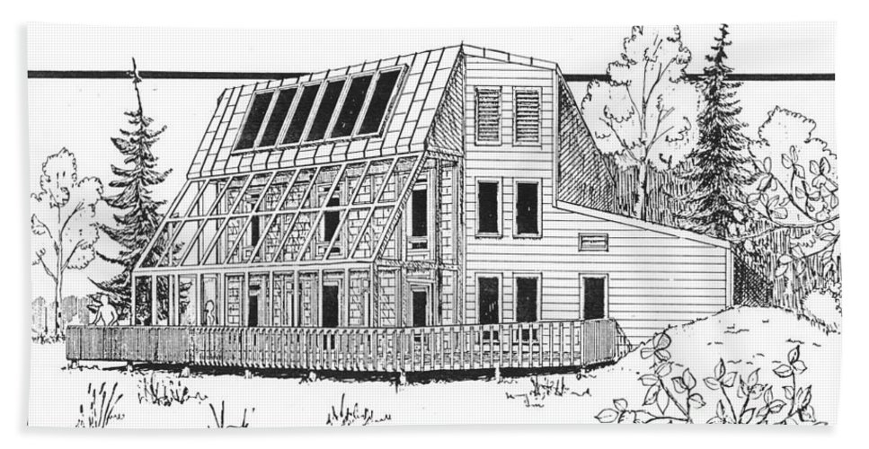 Sketch Beach Towel featuring the drawing Solar House by Ron Bissett