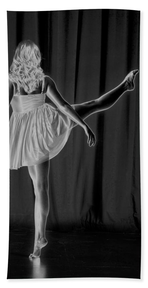 B&w Beach Towel featuring the photograph Solarized Dancer by Frederic A Reinecke