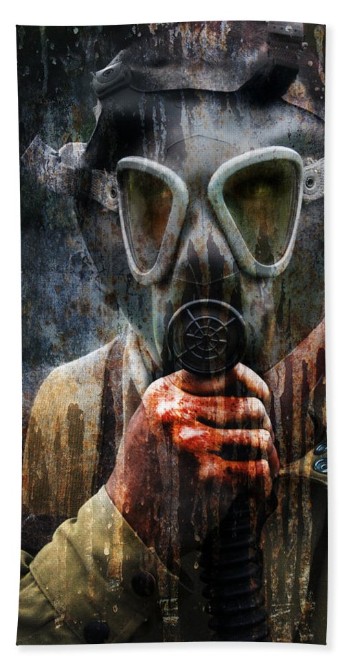 Soldier Beach Towel featuring the photograph Soldier In World War 2 Gas Mask by Jill Battaglia