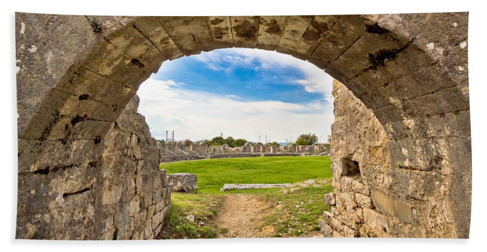 Croatia Beach Towel featuring the photograph Solin Ancient Arena Old Ruins by Brch Photography