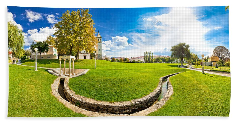 Panorama Beach Towel featuring the photograph Solin Park And Church Panoramic View by Brch Photography