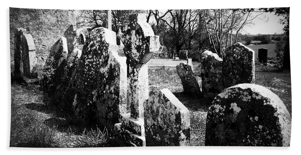 Ireland Beach Sheet featuring the photograph Solitary Cross At Fuerty Cemetery Roscommon Irenand by Teresa Mucha