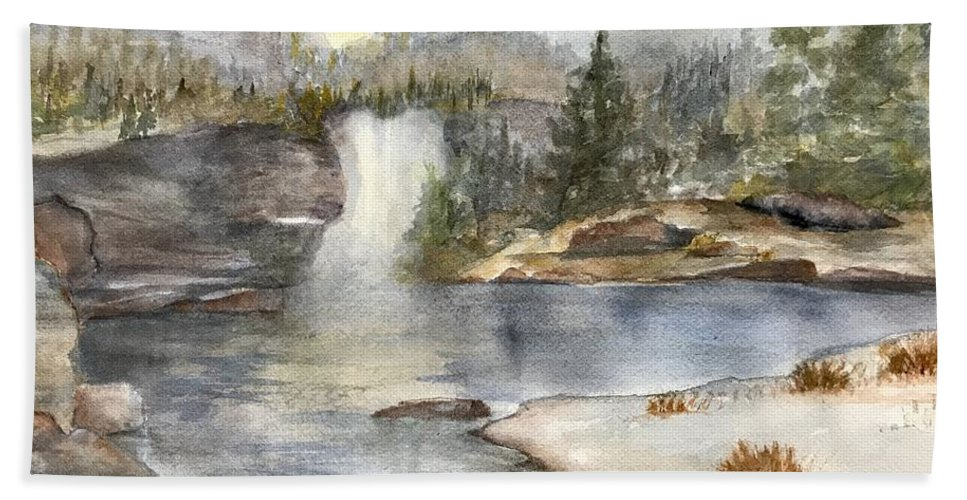 Lake Beach Towel featuring the painting Solitude by Paintings by Florence - Florence Ferrandino