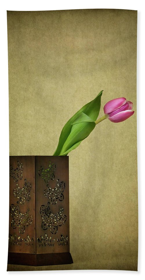 Arrangement Beach Towel featuring the photograph Solitude In Bloom by Evelina Kremsdorf