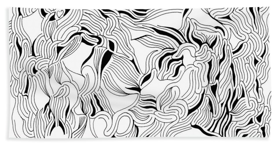 Mazes Beach Towel featuring the drawing Solitude by Steven Natanson