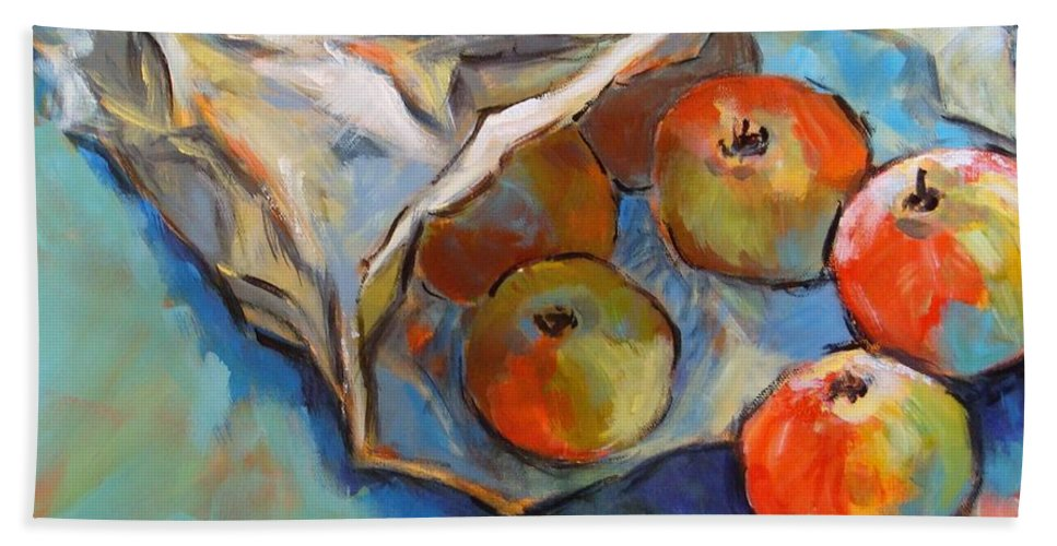 Apples Beach Towel featuring the painting Some Apples by Cathy MONNIER