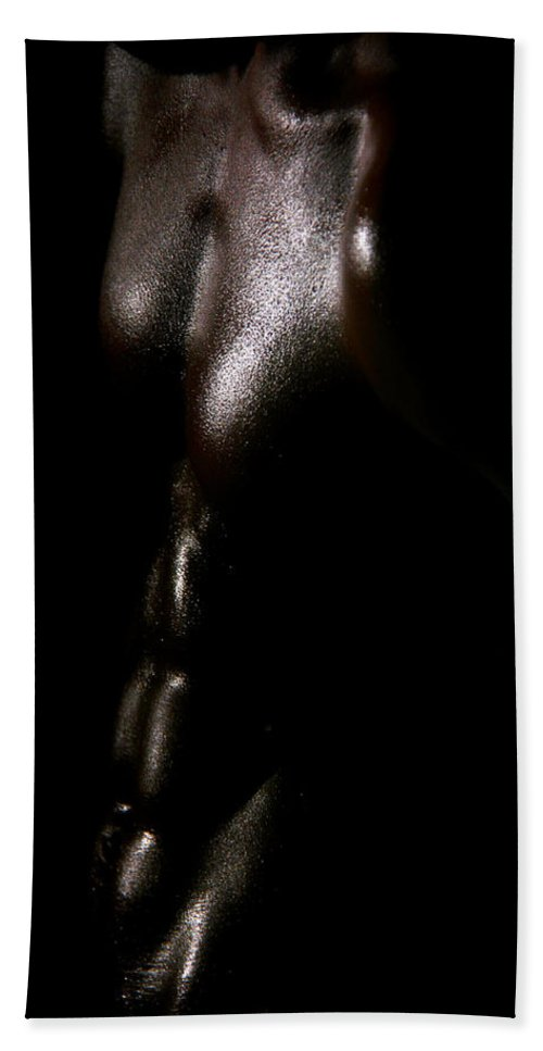 Male Nude Photos Beach Towel featuring the photograph Something Dark by Mark Ashkenazi