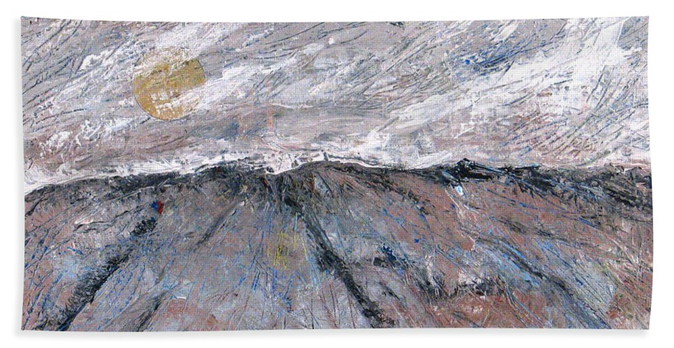 Mountains Beach Towel featuring the painting Somewhere Higher by Rollin Kocsis