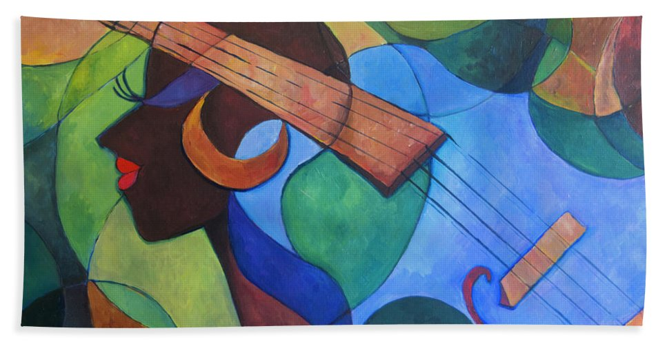 Songs Beach Towel featuring the painting Songs About Her by Janiene Facey