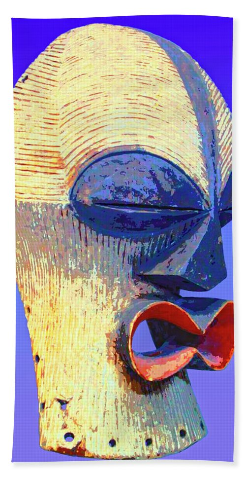 Africa Beach Towel featuring the mixed media Songye Kifwebe Mask by Dominic Piperata