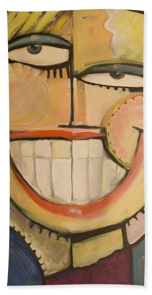 Sunny Beach Towel featuring the painting Sonny Sunny by Tim Nyberg