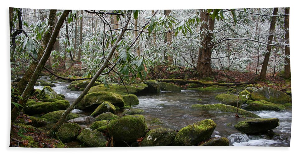 River Stream Creek Water Nature Rock Rocks Tree Trees Winter Snow Peaceful White Green Flowing Flow Beach Towel featuring the photograph Soothing by Andrei Shliakhau
