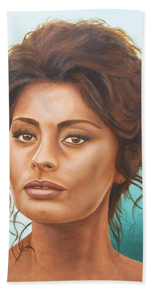 Moviestar Beach Towel featuring the painting Sophia Loren by Rob De Vries