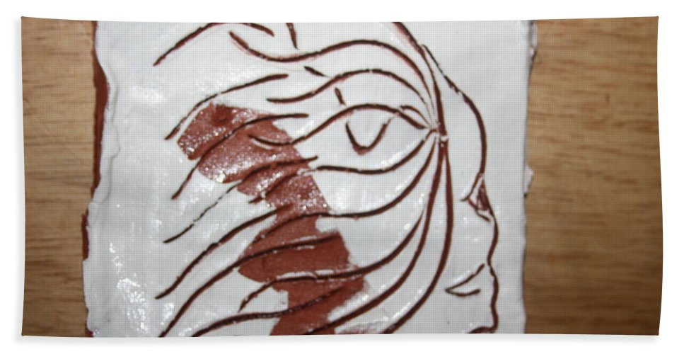 Jesus Beach Towel featuring the ceramic art Sorrow - Tile by Gloria Ssali
