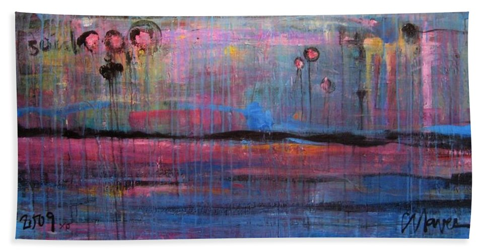 Abstract Beach Towel featuring the painting Soul by Laurie Maves ART