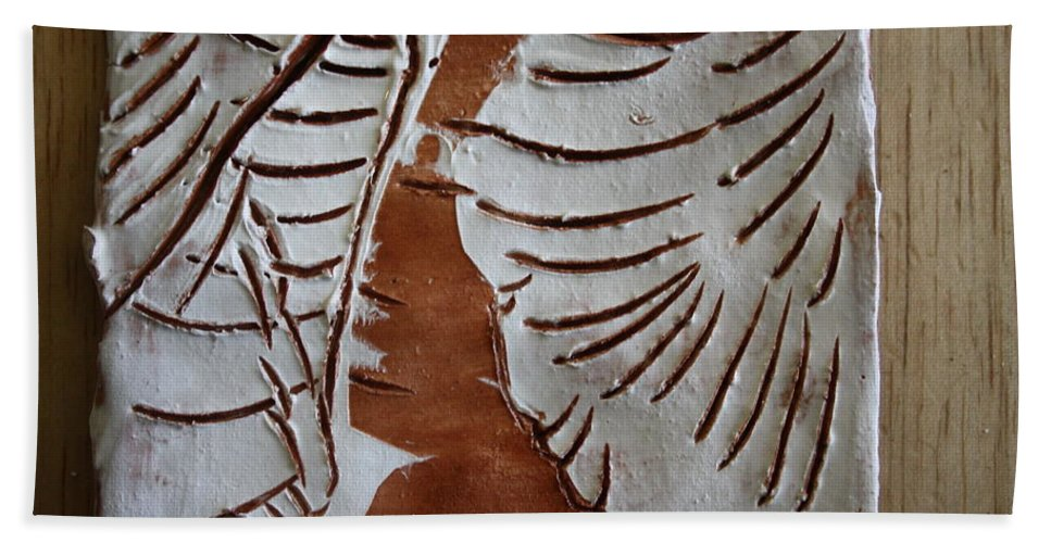 Jesus Beach Towel featuring the ceramic art Souls Window - Tile by Gloria Ssali