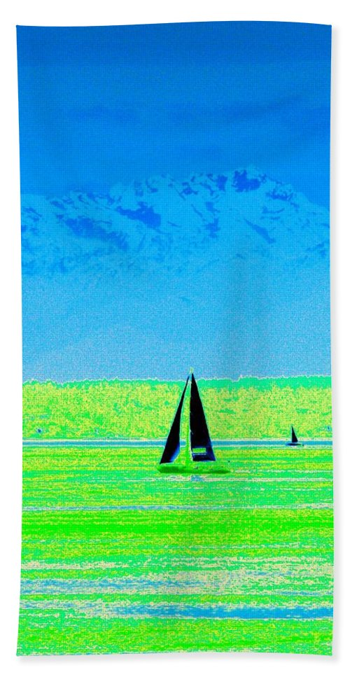 Sail Beach Sheet featuring the photograph Sound Sailin by Tim Allen
