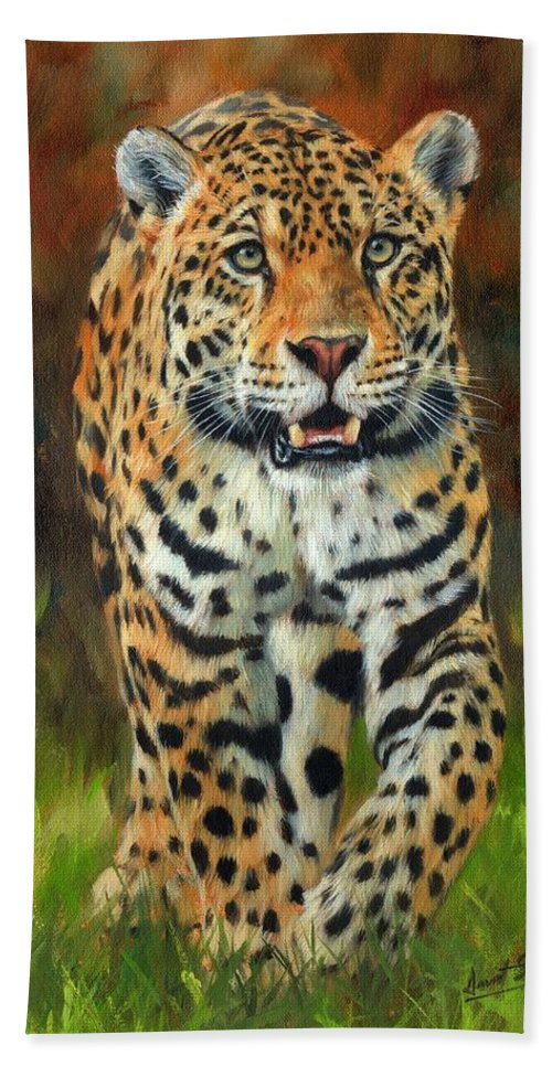 Good Jaguar Beach Sheet Featuring The Painting South American Jaguar By David  Stribbling