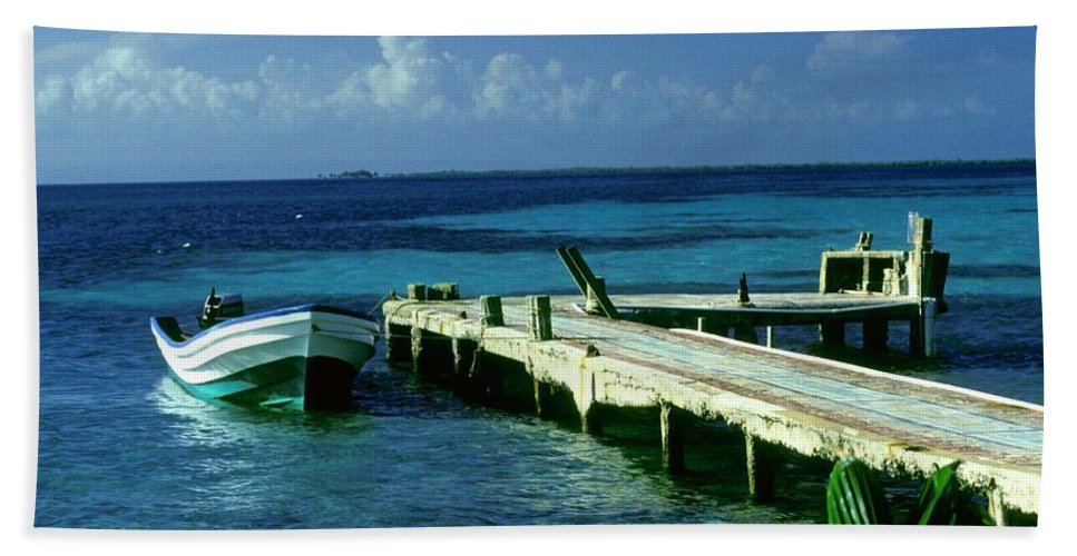 Boat Beach Towel featuring the photograph South Caye Belize Boat Dock by Gary Wonning