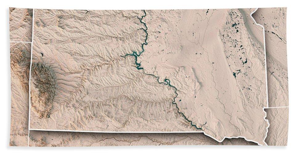 South Dakota Beach Sheet featuring the digital art South Dakota State Usa 3d Render Topographic Map Neutral Border by Frank Ramspott