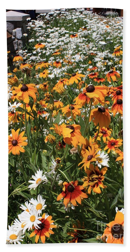 Flowers Beach Sheet featuring the photograph South Lake Tahoe Flowers by Carol Groenen