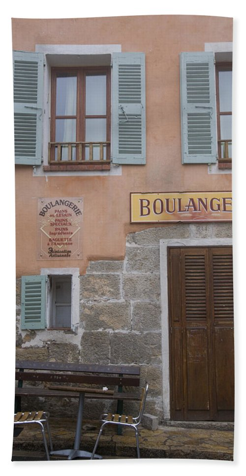 France; Provence; Europe; European; Eu; French; Cote; Dazur; Azur; Blue; Travel; Holiday; Draguignan; Inland; Hill; History; Historic; Historical; Chateaudouble; Gorge; Canyon; Hilltop; Village; Small; Boulangerie; Butcher; Chairs; Table; Door; Wooden; Shutters; Peach; Colour; Color Beach Towel featuring the photograph South Of France by Ian Middleton