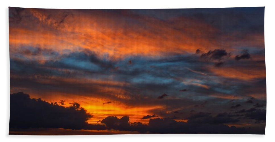 Mark J Dunn Beach Towel featuring the photograph South Pacific Sunset by Mark J Dunn