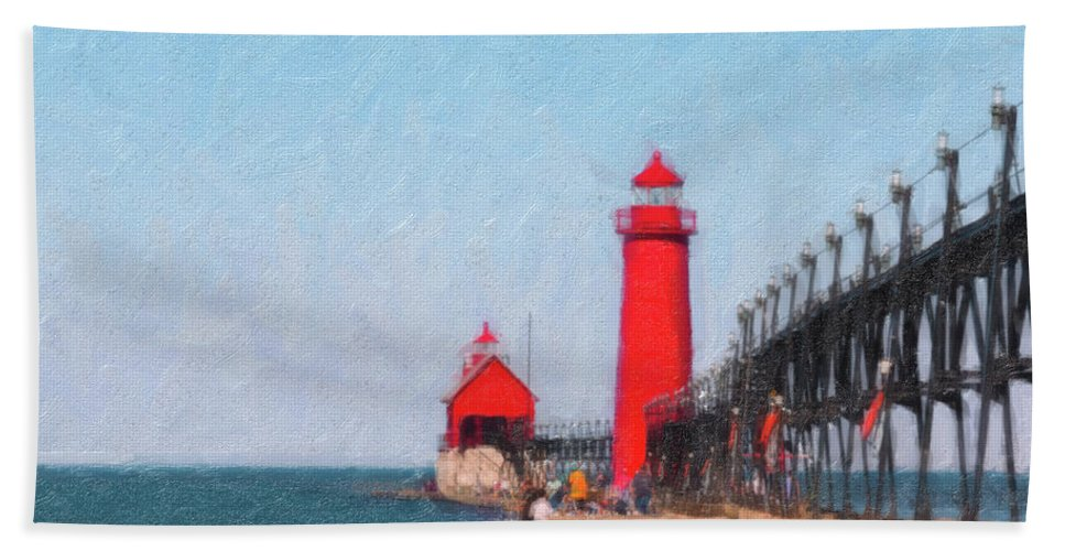 Michigan Beach Towel featuring the photograph South Pier Of Grand Haven by Tom Mc Nemar