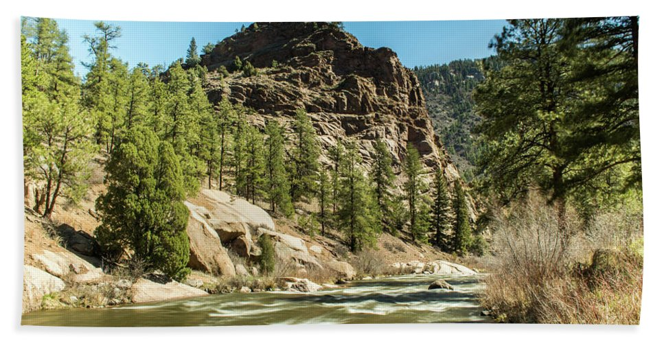Artisans Beach Towel featuring the photograph South Platte In Heavy Spring Flows And Wind by Cary Leppert