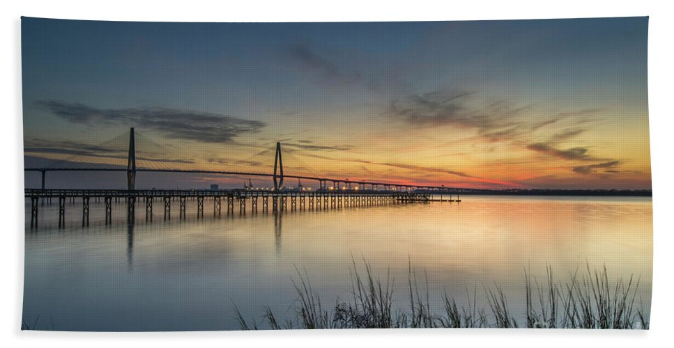 Cooper River Bridge Beach Towel featuring the photograph Southern Allure by Dale Powell